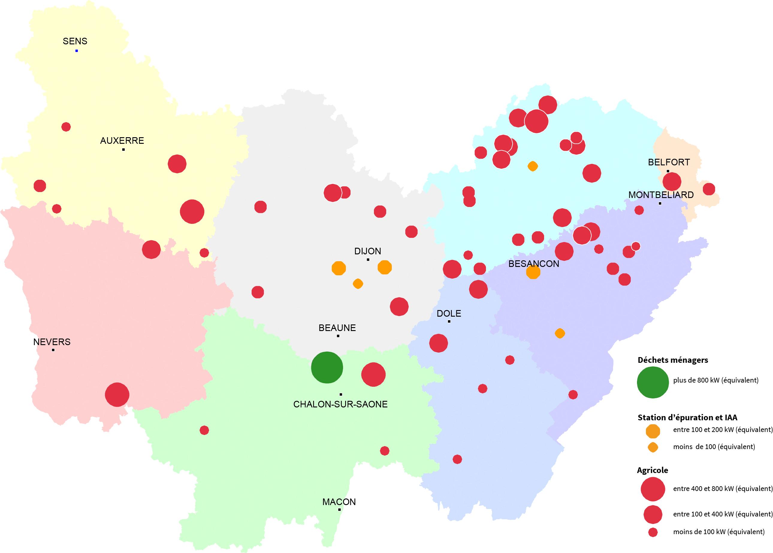 Les différents types d'installations de méthanisation en Bourgogne-Franche-Comté (en fonctionnement ou en construction au 1er janvier 2019)